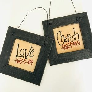 Other - Love Cherish embroidered distressed barnwood frame